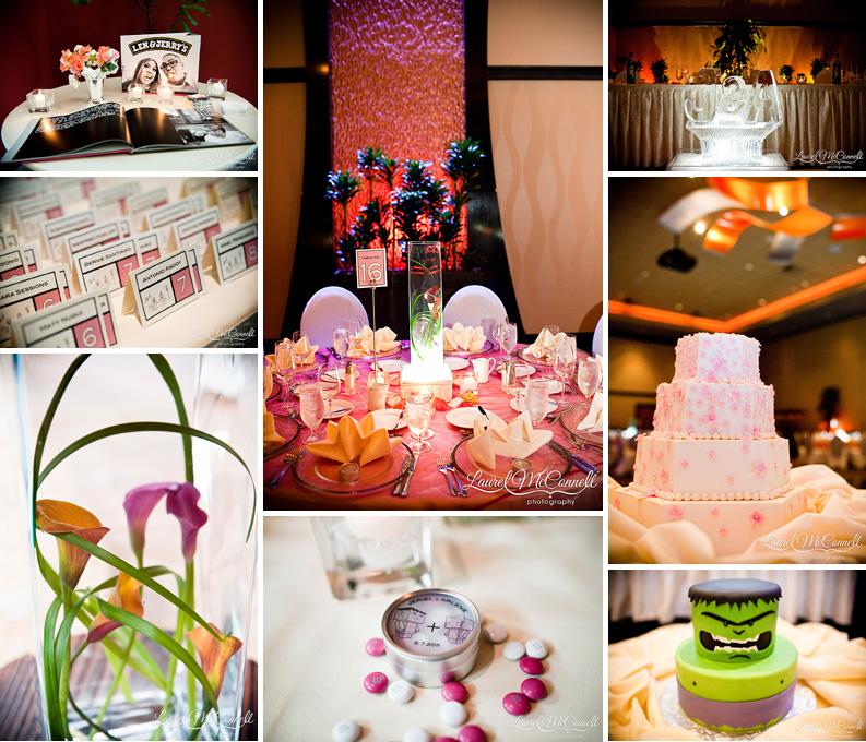 pink and orange wedding, orchid vase centerpieces, and hulk cake at tulalip casino near seattle washington