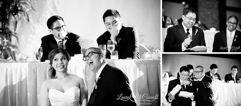 funny wedding toast reactions by bride and groom and groomsmen