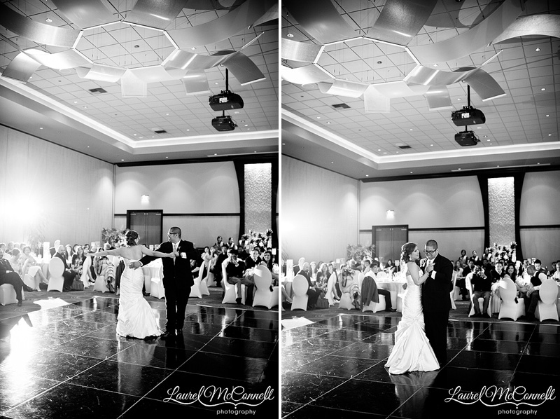 first dance photos with double lighting at a wedding reception using the nikon 35mm f1.4 lens