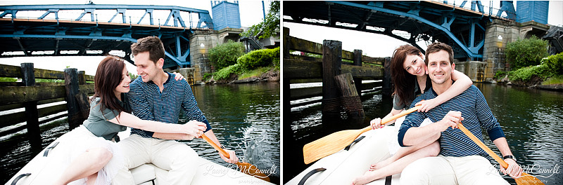 Seattle wedding photographer Laurel McConnell shoots this couple playing on a dingy in Lake Union