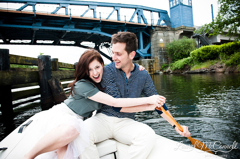wedding photographer in seattle Laurel McConnell captures this engaged couple on a boat