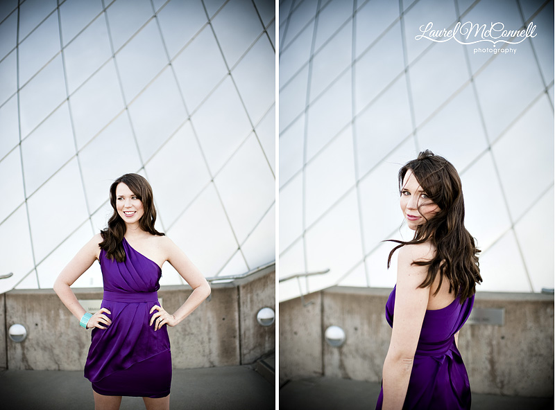 tacoma bride in purple cocktail dress during engagement pictures