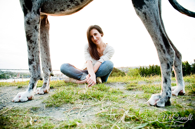 seattle photographer amy kiel and her great dane dog by laurel mcconnell photography