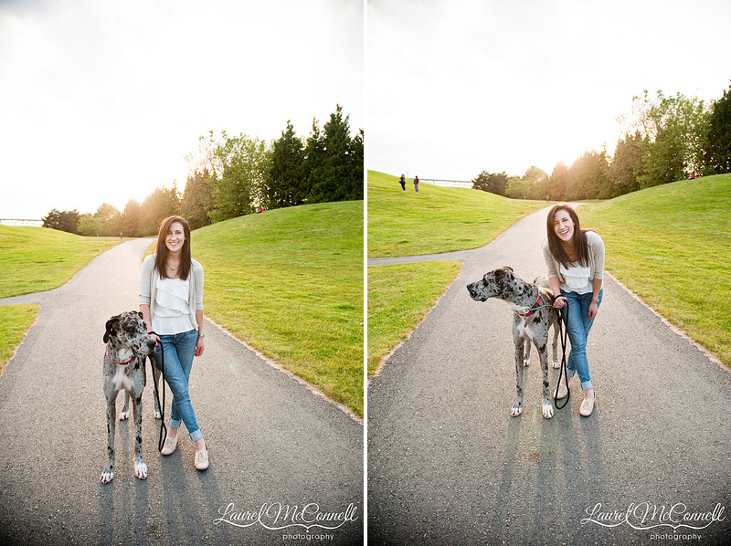 dog photographer in seattle of dog and girl at gasworks park at sunset