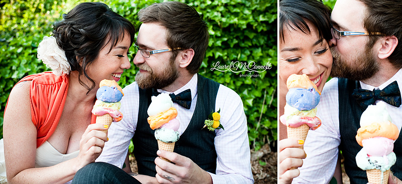 catherine and mike cuddle with their colorful ice cream cones for this wedding photography