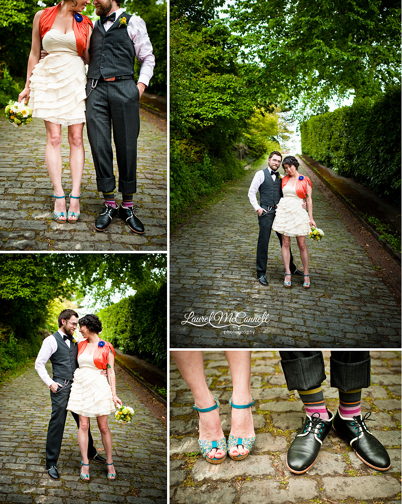 vintage pinstripe suit and hip shoes and a bride with a short ivory wedding dress