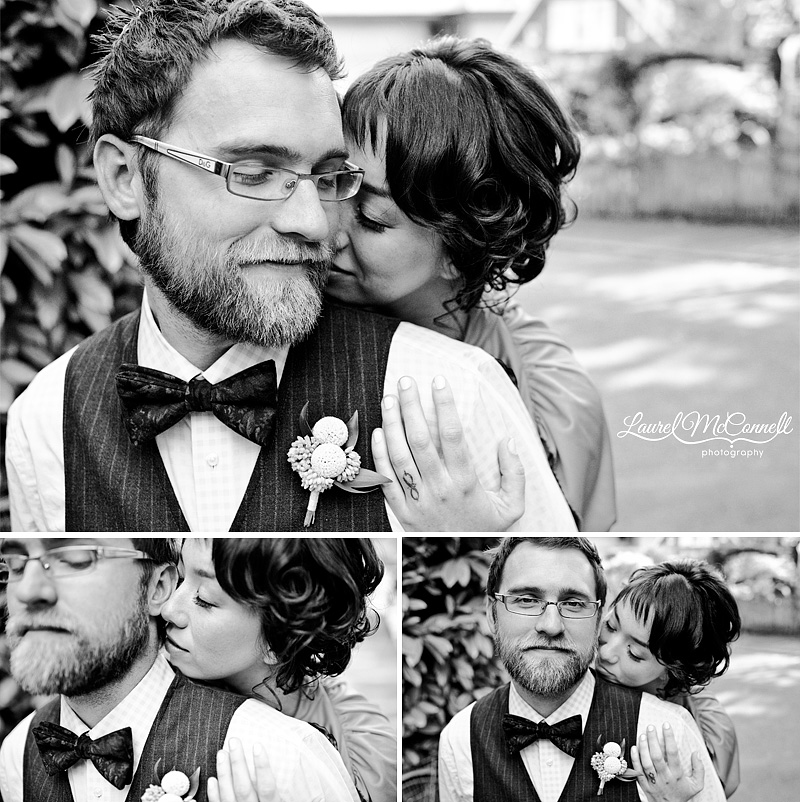 modern b&w wedding photography of couple snuggling and canoodling