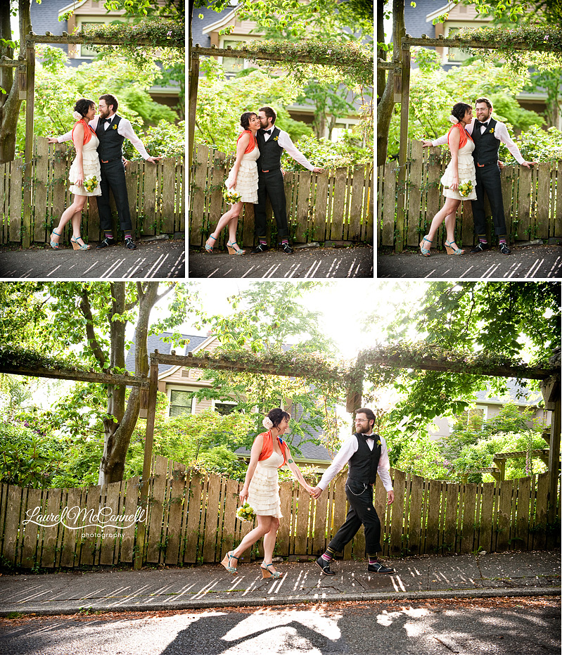 flirty pictures of a couple in a garden for wedding pictures