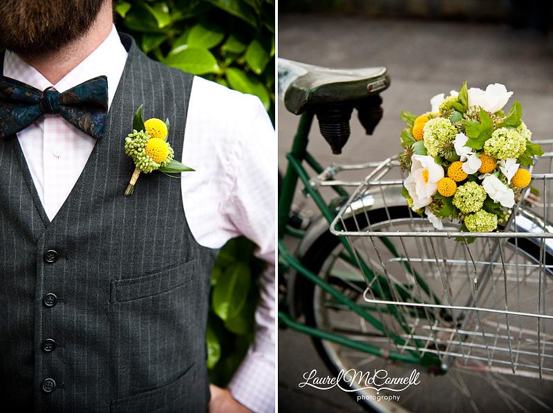 modern yellow ranunculus boutonniere and white poppy bouquet in a vintage schwinn bike basket