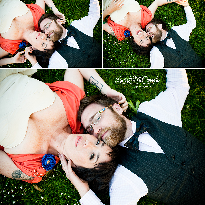 couple snuggling in the grass for portraits