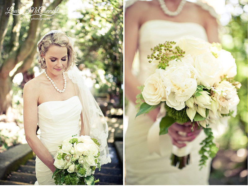 bride with romantic white bouquet with oversized blooms