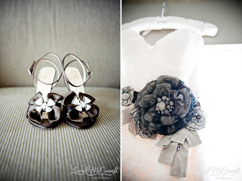 brides kate spade shoes and vintage belted enzoani gown during getting ready pictures