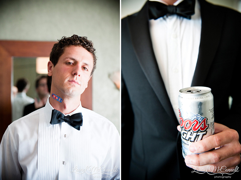 groomsman with transformers bandaid and coors light getting ready for wedding