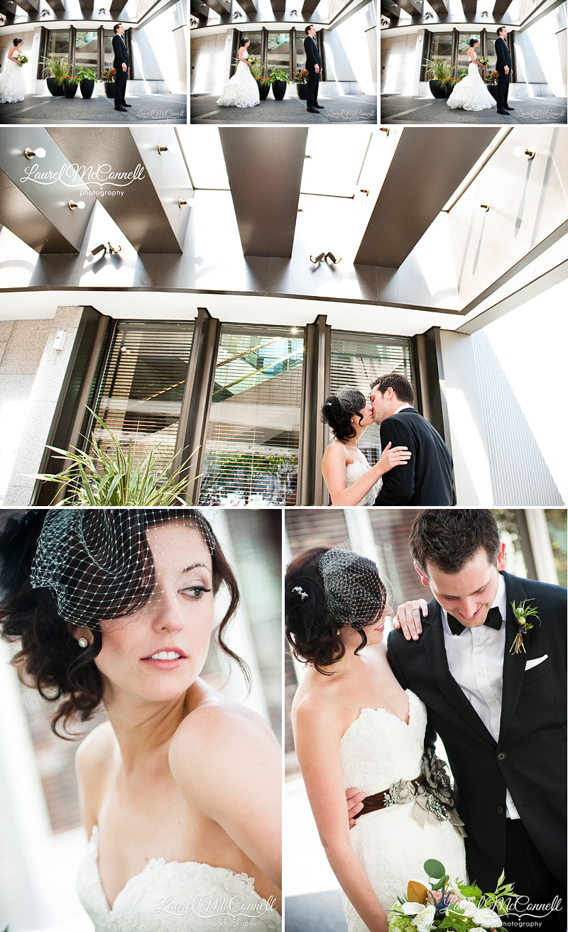 first look for a seattle wedding at the westin hotel downtown
