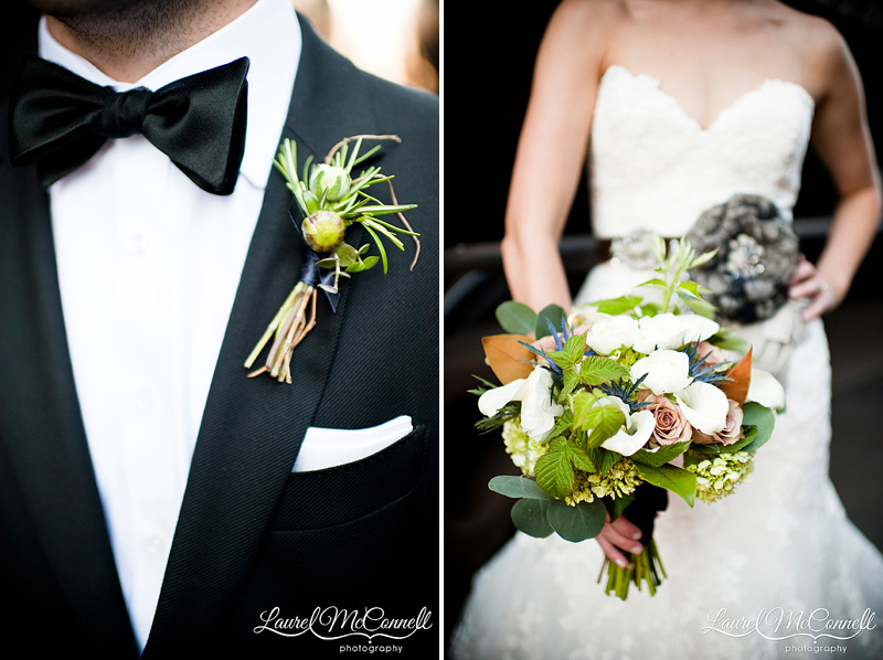 herb boutonniere boutinniere and romantic eucalyptus bouquet in green and rust and brown