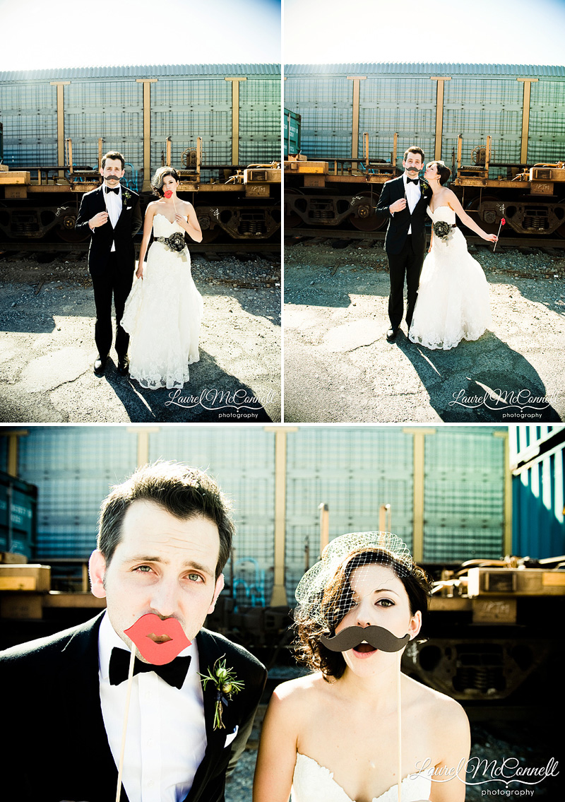 fun wedding photographer seattle mustache on a stick quirky industrial trains sodo