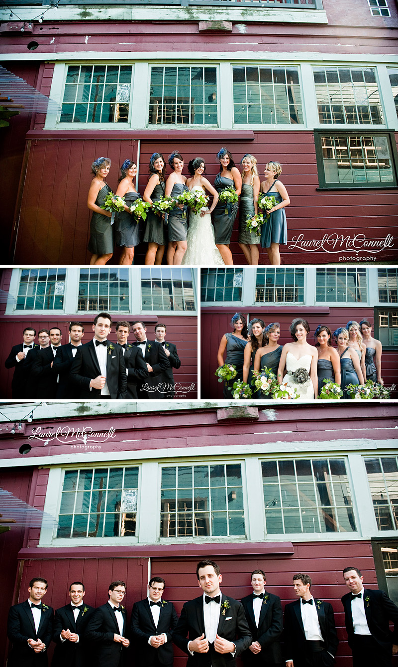 modern photography of wedding party in tuxedos and grey dresses with purple veil hats