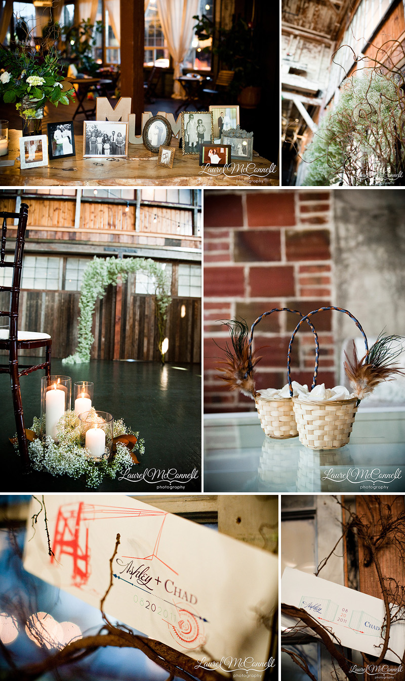 modern vintage industrial decor for sodo park wedding in seattle phesant feathers baby's breath candles