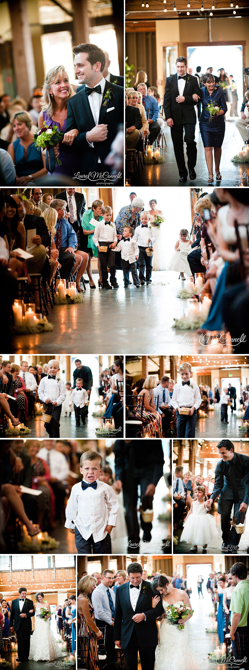 ring bearers and flower girls crying during processional funny sodo park seattle wedding photography