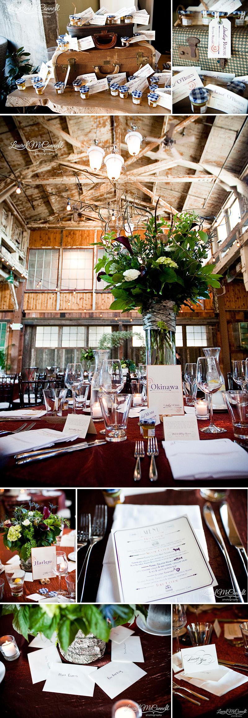 industrial wedding decor at sodo park copper birch eucalyptus feathers purple turqouise orange