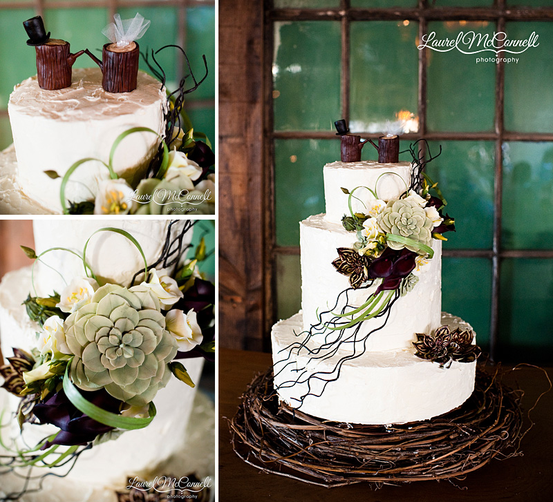 succulent wedding cake with sugared succulents in a nest with cute modern wood topper