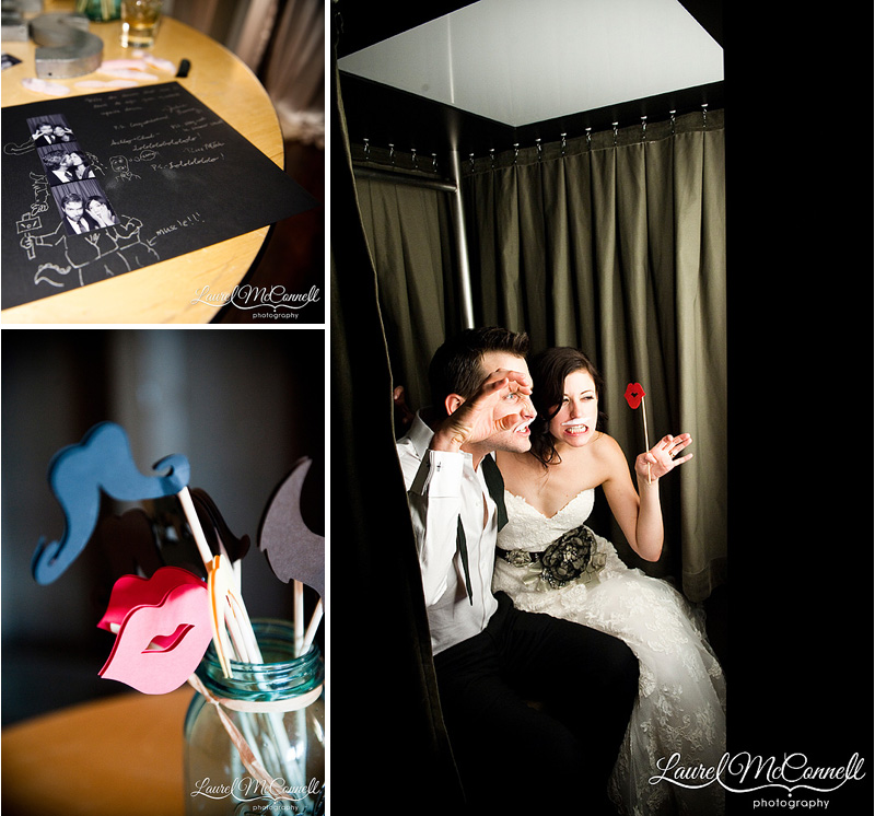 wedding photobooth with quirky props on a stick
