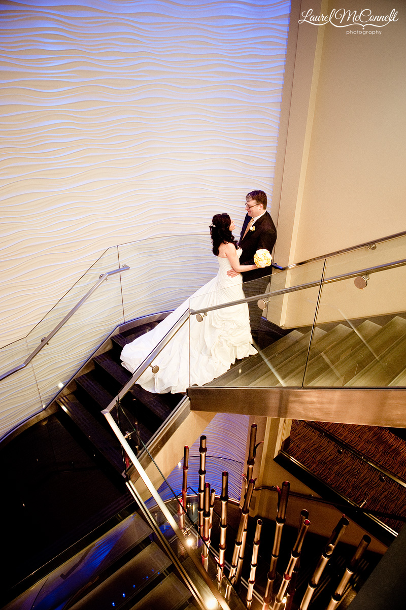 wedding photography at hotel 1000 in downtown seattle of bride and groom