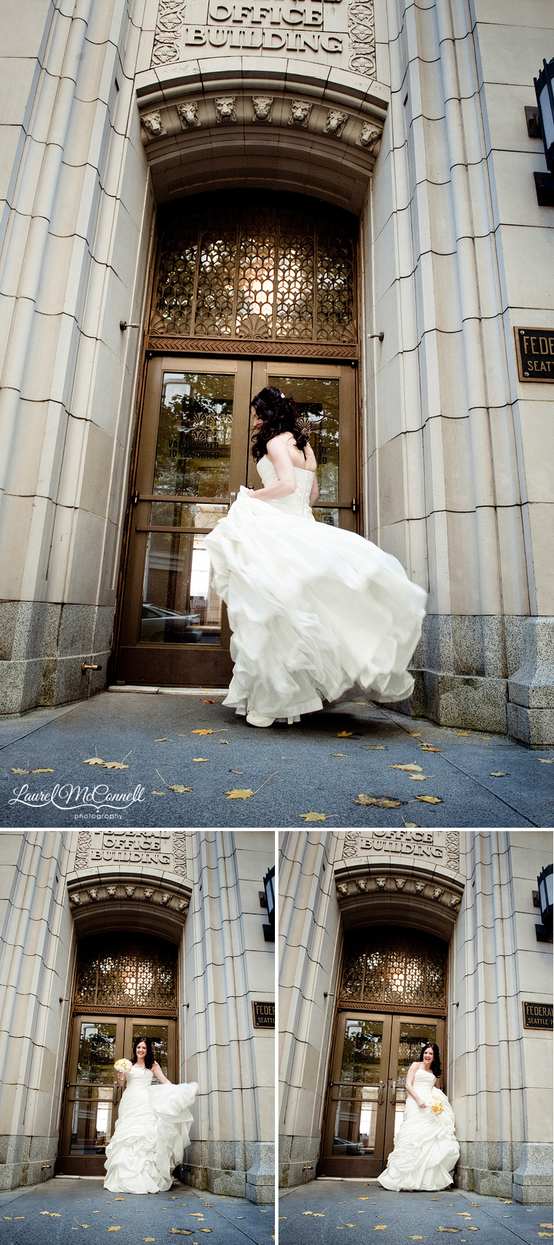 a bride spins in her enzoani wedding gown in front of a historic building in downtown seattle for her wedding photography