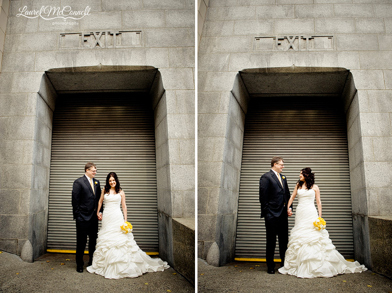 a modern grey and yellow wedding in urban downtown seattle where a couple is in a loading dock