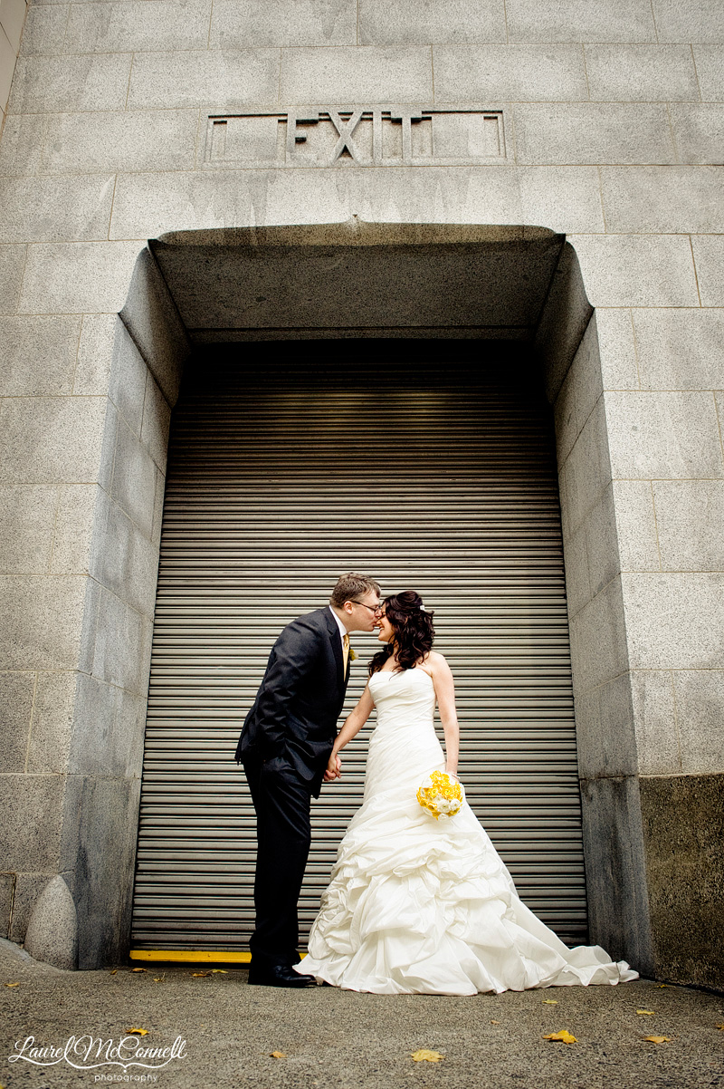 urban wedding photography on a loading dock