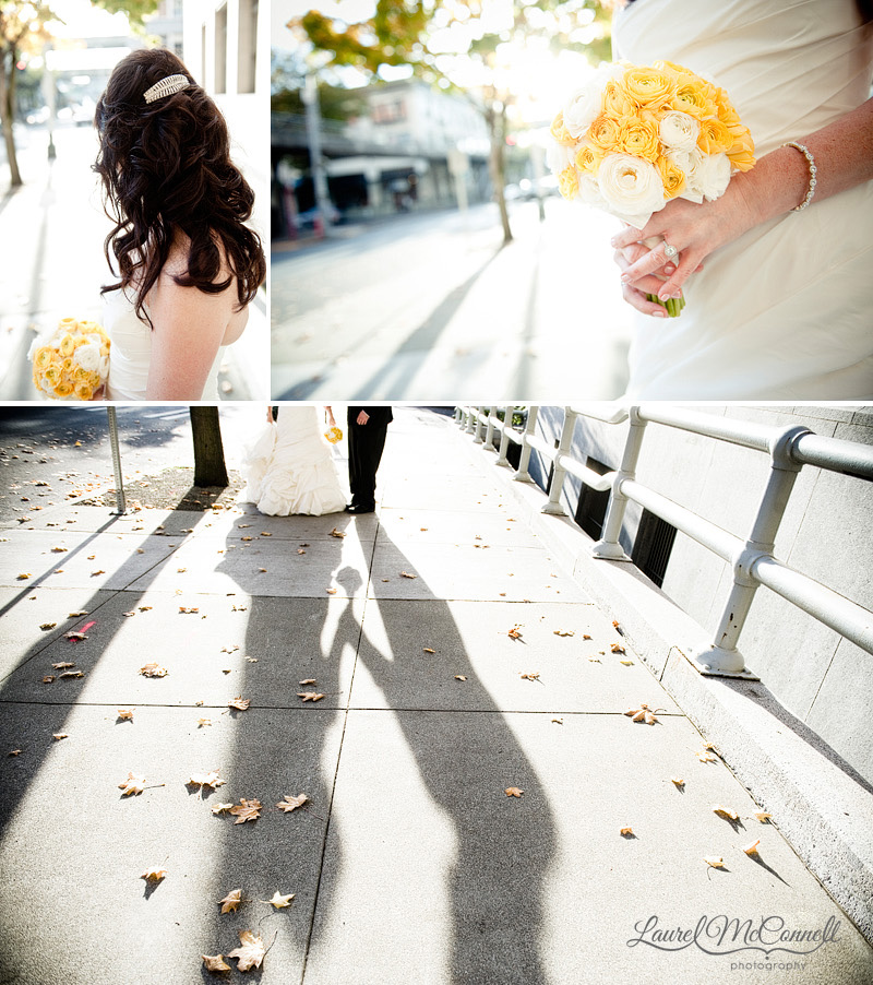 yellow wedding pictures in fall in downtown seattle of a bride's hairdo and bouquet and shadows