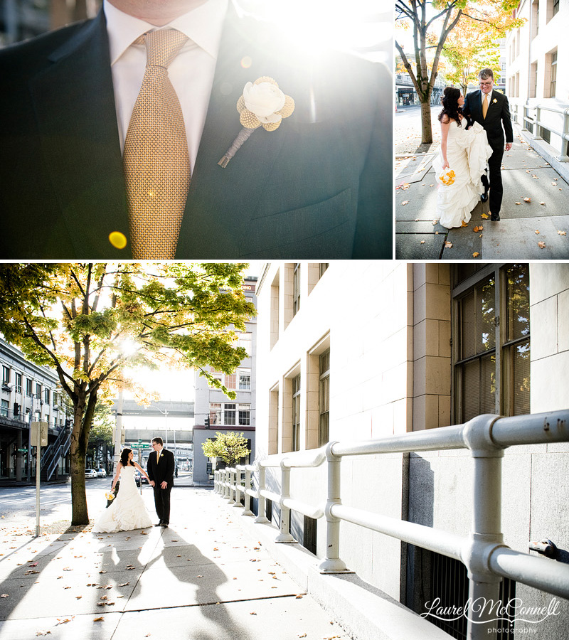 grey suit and yellow tie and boutoinnere for an urban fall wedding in seattle