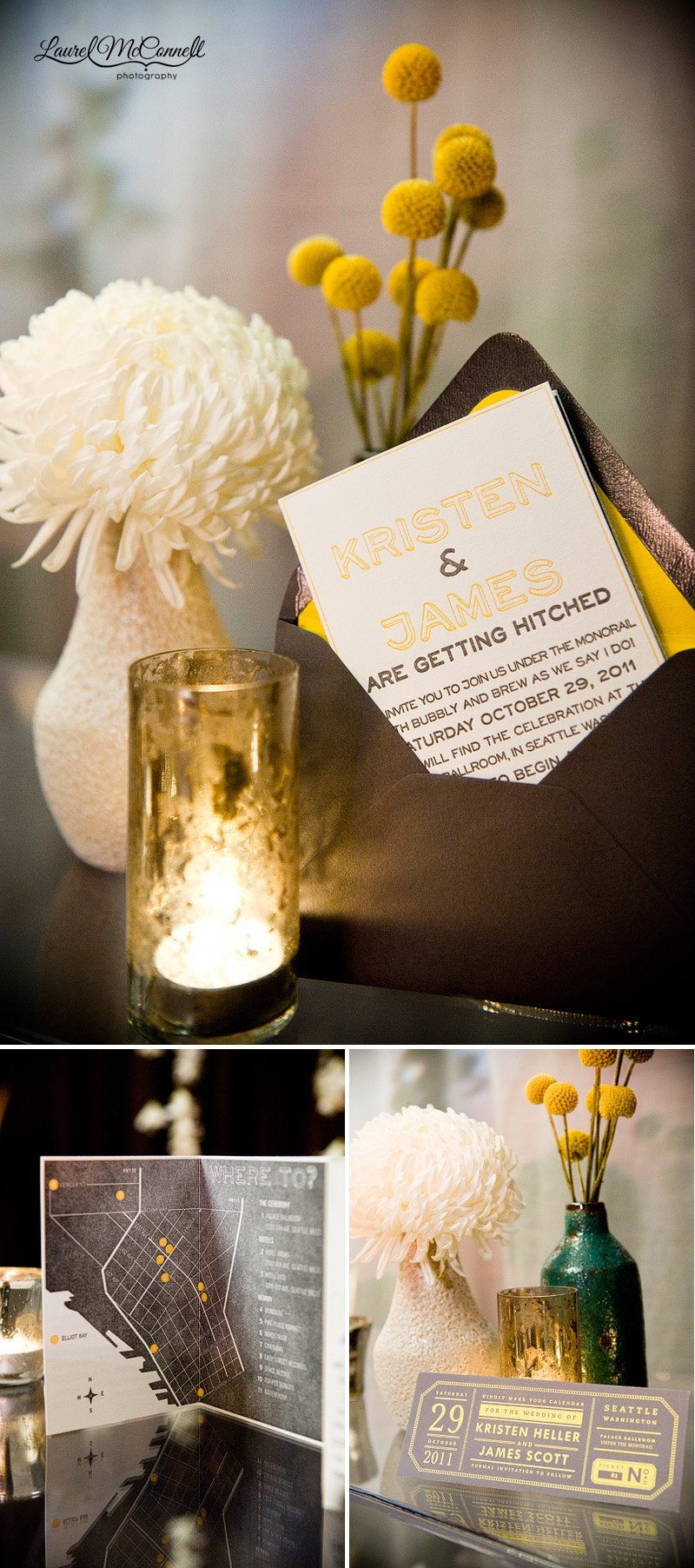 letterpress invitations with yellow and grey accents