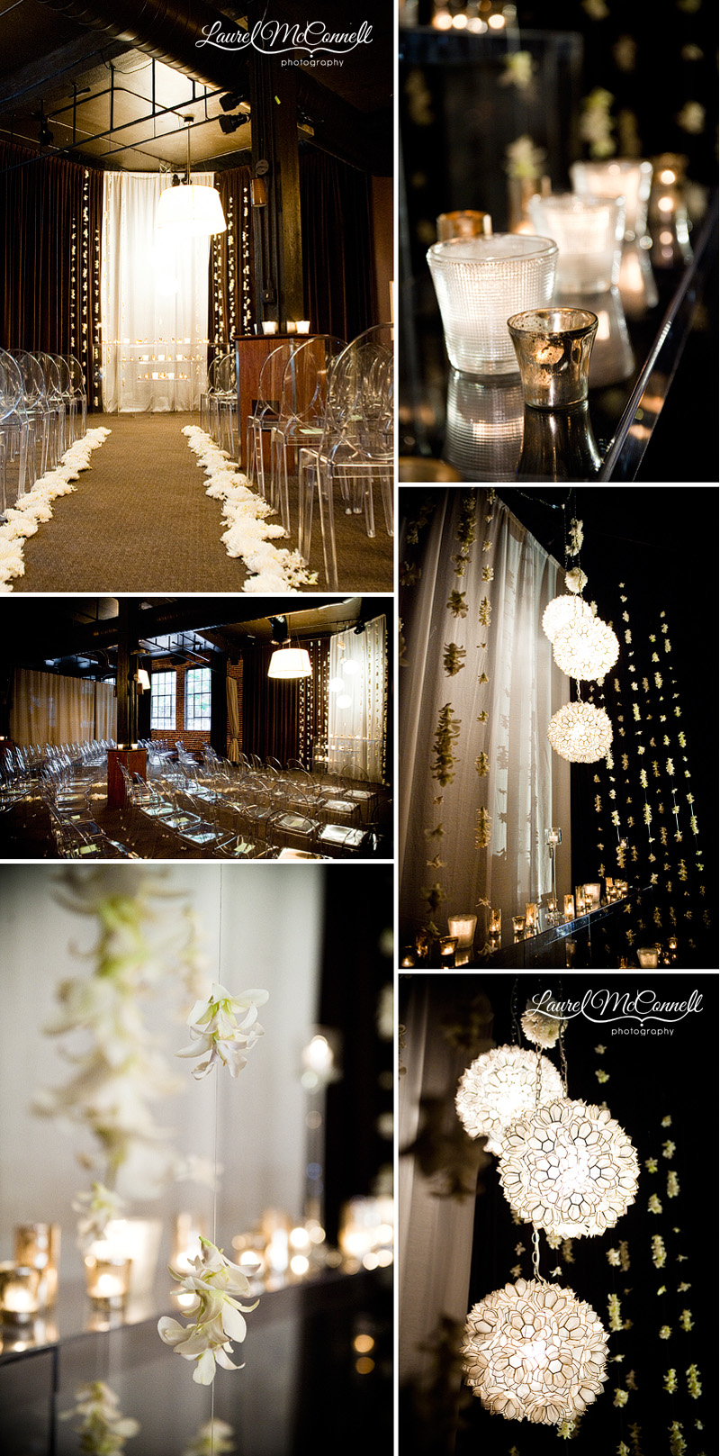 wedding decor at the palace ballroom of ghost chairs, capiz shell chandelier, and ivory flowers