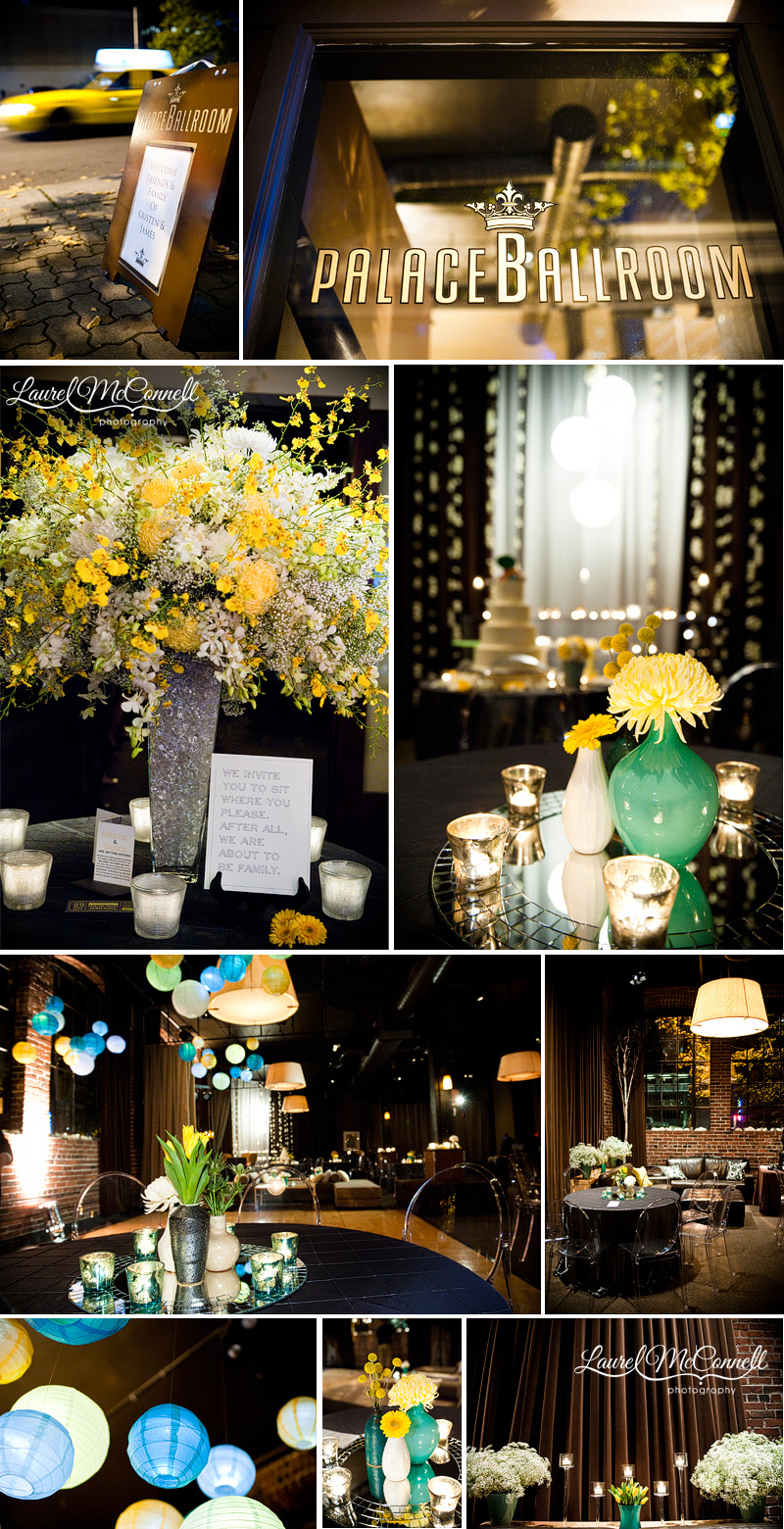 turquoise and yellow wedding reception decor at the palace ballroom
