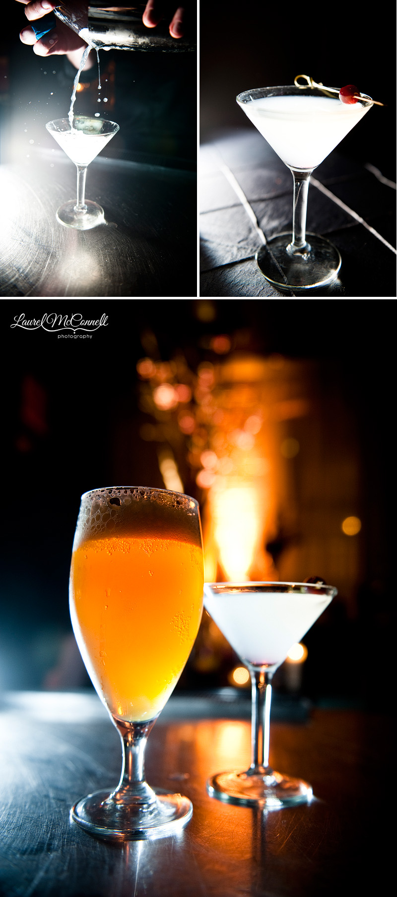 signature cocktails for a wedding at the palace ballroom in seattle, a microbrew beer and a cherry blossom martini