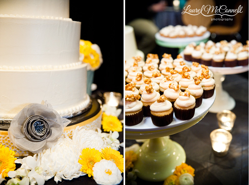 wedding cake and cupcakes at a yellow and grey wedding