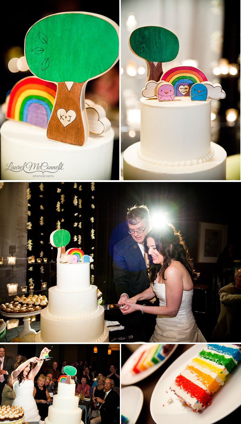 a rainbow cake and whimsical cake topper for a hip wedding in seattle