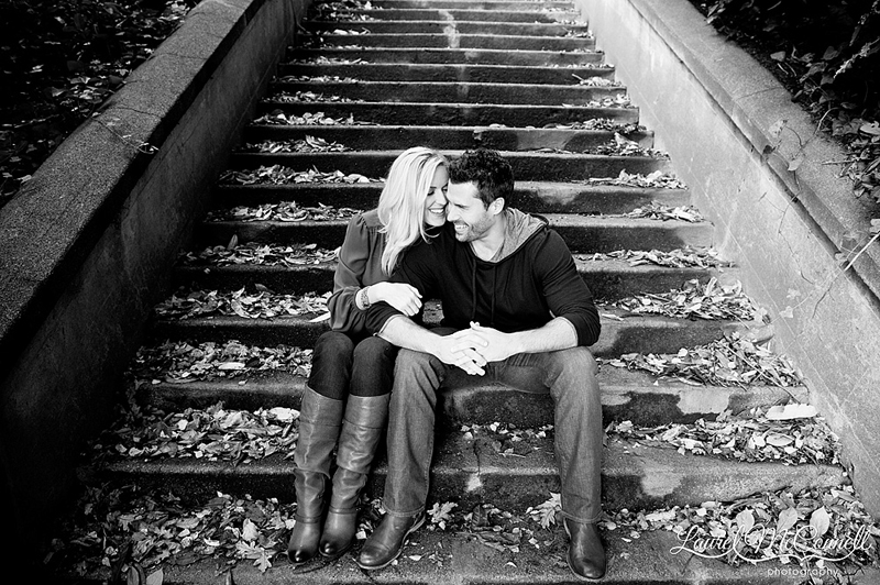 black and white engagement photographs on a staircas in seattle, washington