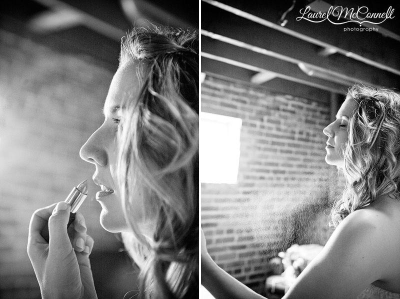black and white photography of the bride getting ready by seattle wedding photographer laurel mcconnell