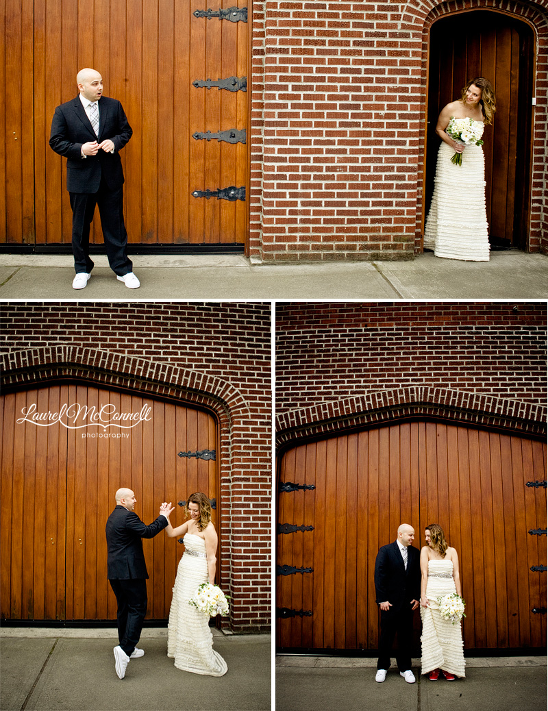 bride and groom see each other for the first time, the first look, outside of wedding venue georgetown studios. photographed by seattle wedding photographer laurel mcconnell
