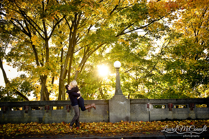 beautiful fall light through trees for engagment session