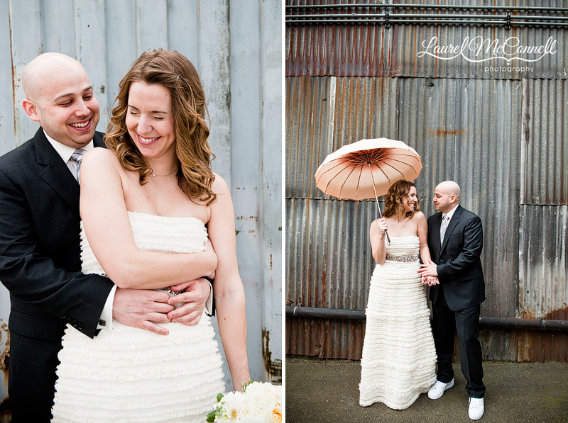 sweet bride and groom pictures in urban georgetown. photographed by seattle wedding photographer laurel mcconnell