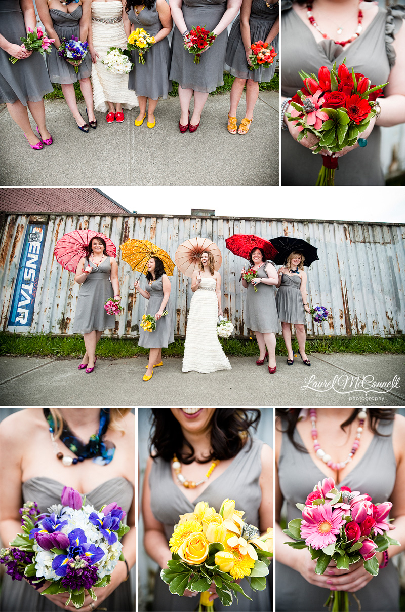 vintage umbrellas, colorful shoes, coordinating chunky statement necklaces, and paper flowers in bouquets make up the bridesmaids details. photographed by seattle wedding photographer laurel mcconnell