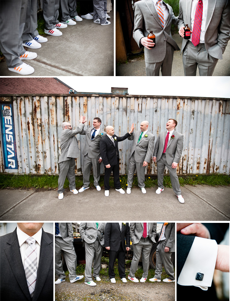 groomsmen details are color coordinated ties with their adidas wedding shoes and the groom's grey plaid burberry tie and cufflinks. photographed by seattle wedding photographer laurel mcconnell