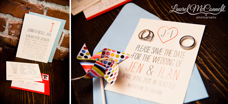 red white and blue wedding invitations and simple hipster wedding logo. pinwheels of course! photographed by seattle wedding photographer laurel mcconnell