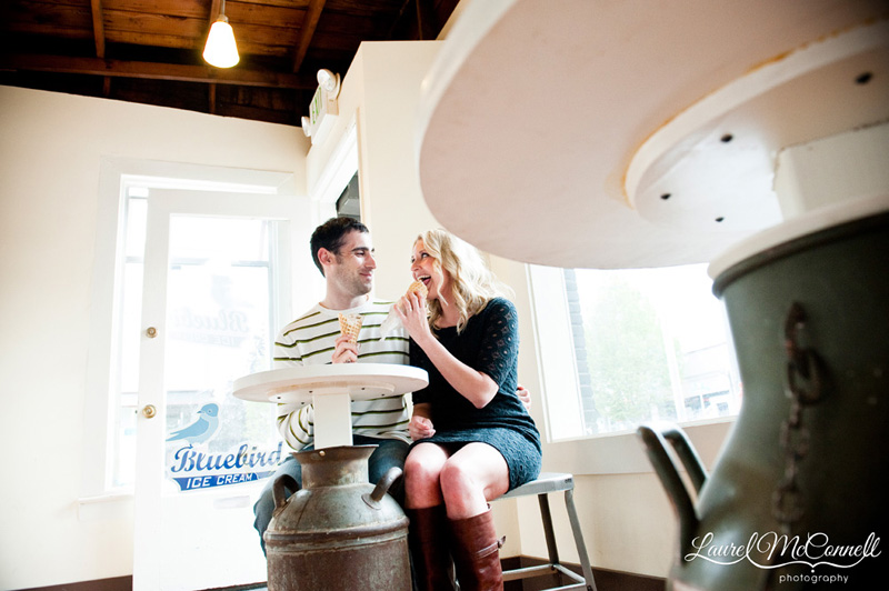 fun engagement photography at Blue Bird ice cream in Seattle