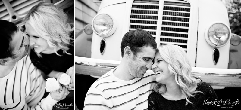 vintage engagement photography at Blue Bird ice cream truck in Seattle