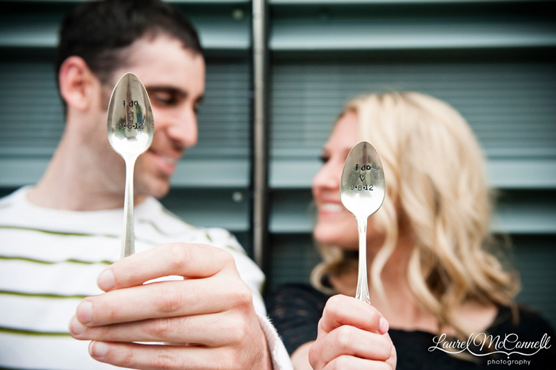 cute save the date engagement photography with vintage silver spoons