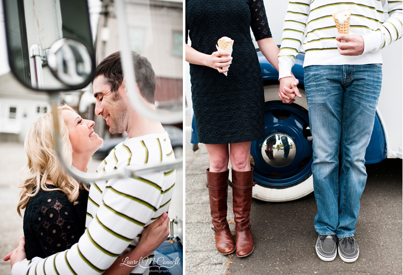 modern seattle engagement photography by a vintage ice cream truck